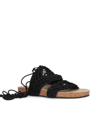 Sandalo macramè nero