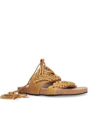 Sandalo macramé ocra