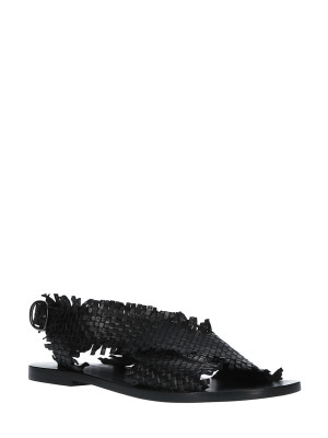 Sandales en Cuir Tressé Noire
