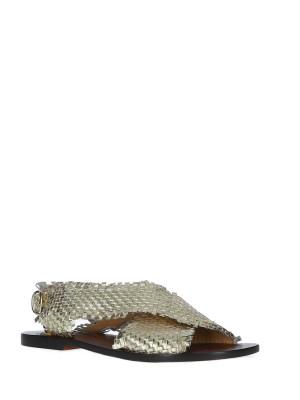 Sandales en Cuir Tressé Platine
