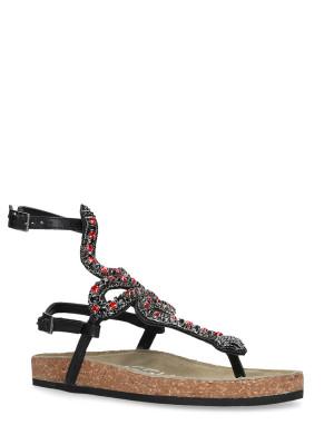 Sandalo in pelle snake red