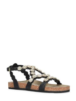 Sandale en cuir noir strass
